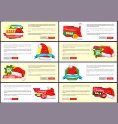 Set of different christmas sale promo posters vector
