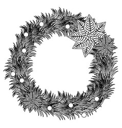 Silhouette pine arch with poinsettia christmas vector