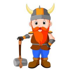 viking cartoon with a big hammer vector image