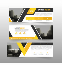 Yellow black triangle corporate business banner vector