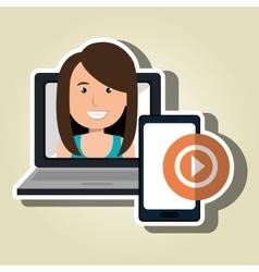 woman laptop smartphone social vector image
