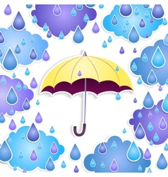 Background with a yellow umbrella and drops vector