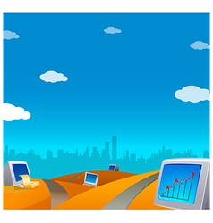 Computers on landscape skyline vector