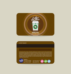 Front and back coffee shop member card template vector