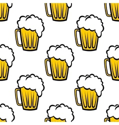 Seamless pattern with tankards of frothy beer vector