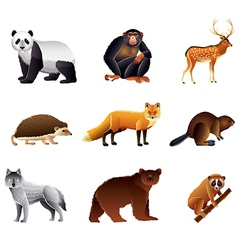 Asian animals set vector