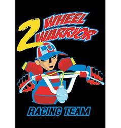 2 wheel warrior on a black background vector image vector image