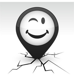 Smiley black icon in crack vector