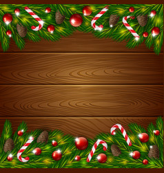 Wooden background and xmas ornament vector