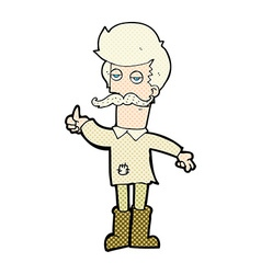 Comic cartoon old man in poor clothes vector