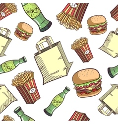Seamless pattern fast food set vector