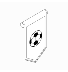 Pennant with soccer ball icon isometric 3d style vector