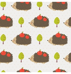 Cute hedgehog seamless pattern vector image
