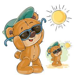 a brown teddy bear in a cap vector image vector image