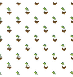 acorns with leaves pattern vector image