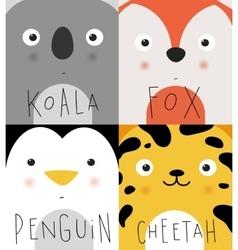 Animal muzzles koala fox penguin cheetah vector
