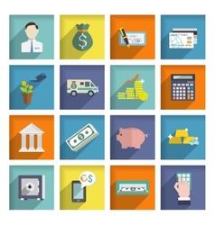 Bank service icons flat set vector