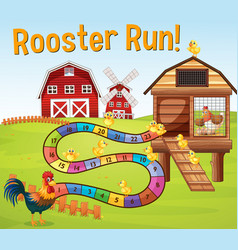 Boardgame template with chickens in farm vector