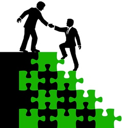Business people partner help find solution vector image vector image