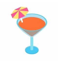 Cocktail with umbrella isometric 3d icon vector image vector image