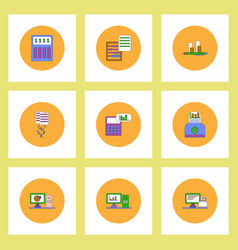 Collection of icons in flat style business items vector