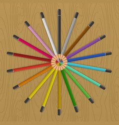 colored pencils that fan circle vector image vector image