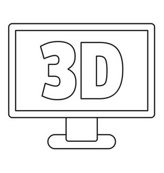 Computer monitor with 3d inscription icon outline vector