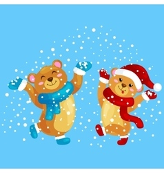 Cute christmas bears during the winter holidays vector