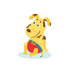 cute funny puppy dog character in swimming pants vector image