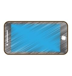 Drawing mobile phone blue screen technology vector
