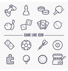 games linear icons ping-pong golf billiards darts vector image