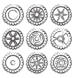 Gears set grunge vector image vector image