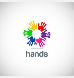 hands colorful circle logo vector image