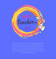 happy teachers day poster vector image vector image