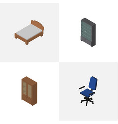 Isometric furniture set of office sideboard vector