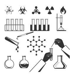 molecular elements and test tube black icons vector image vector image