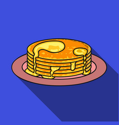 Pancakes with honey icon in flat style isolated on vector