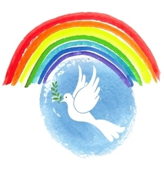 Peace day White pigeonwatercolor sky vector image