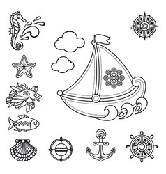 Sea set sea and nautical decorations vector