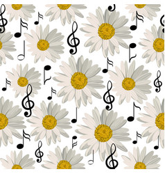 Seamless pattern with music notes and daisies vector