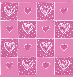 Seamless pink pattern with hearts vector