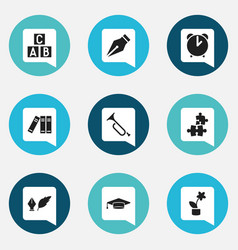 set of 9 editable school icons includes symbols vector image vector image