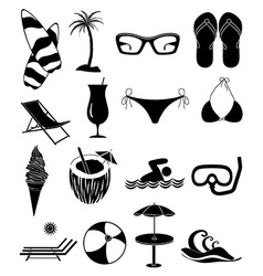 Summer beach fun icons set vector