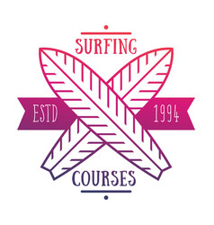 Surfing courses emblem logo over white vector