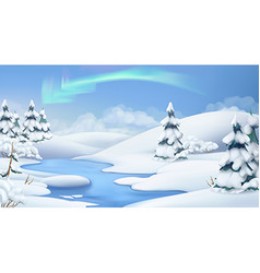 Winter landscape Christmas background 3d vector image vector image