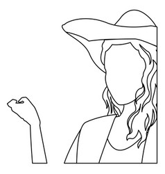 Woman no face fashion hat hairstyle outline vector
