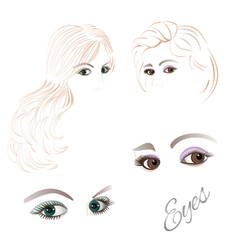 Females eyes brown and green vector