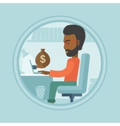 Man earning money from online business vector