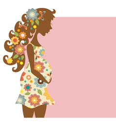 Silhouette of pregnant woman with floral ornament vector image