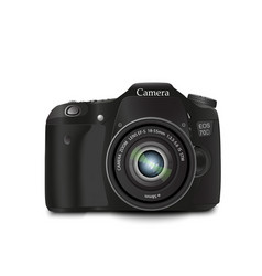 Black camera on a white background vector